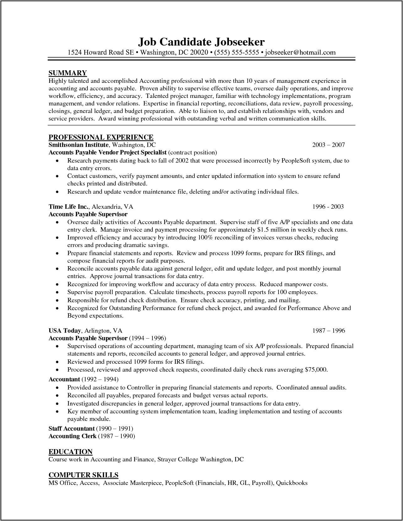 Accounts Payable Manager Resume Examples
