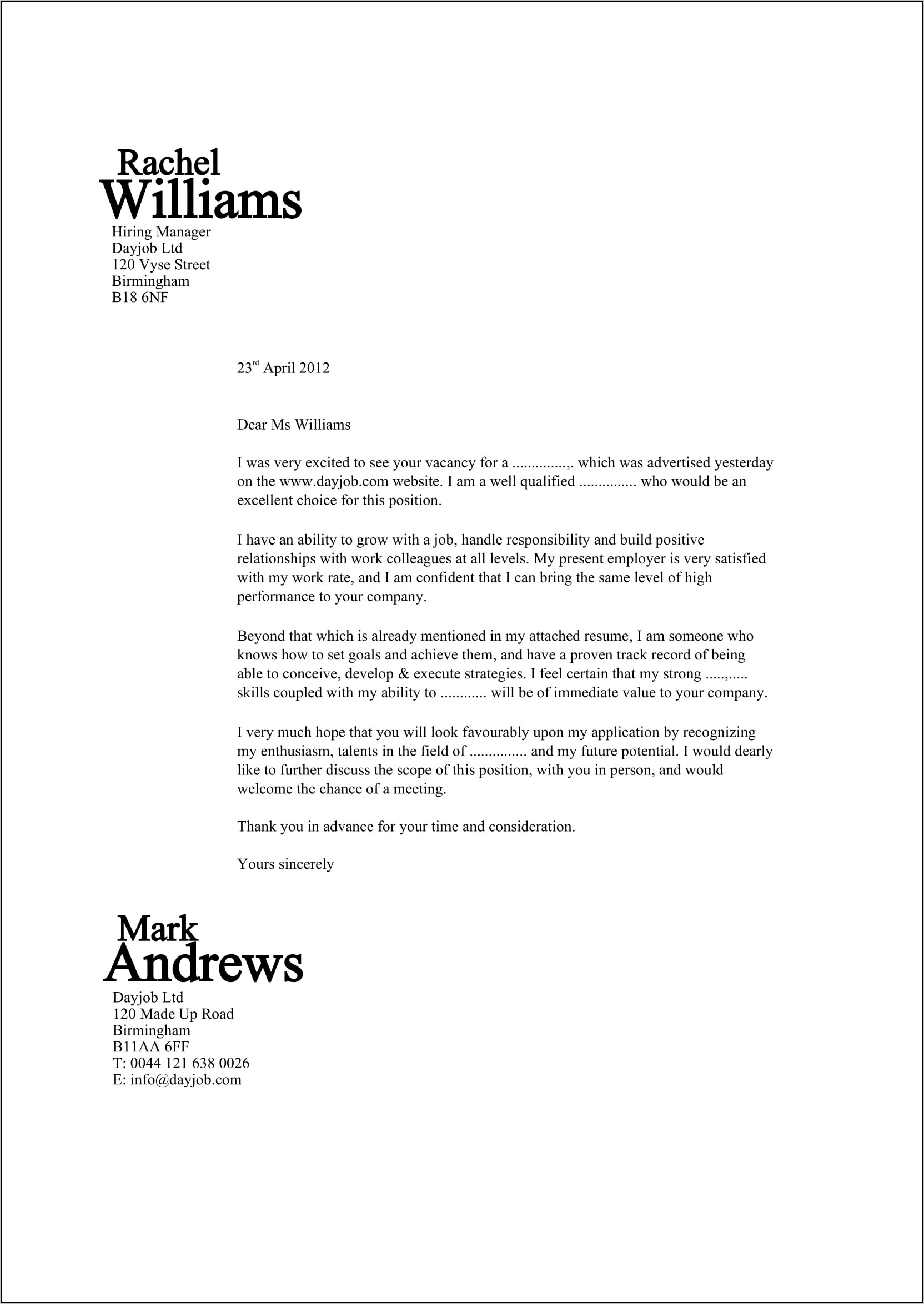 Best Examples Of Resume Cover Letters
