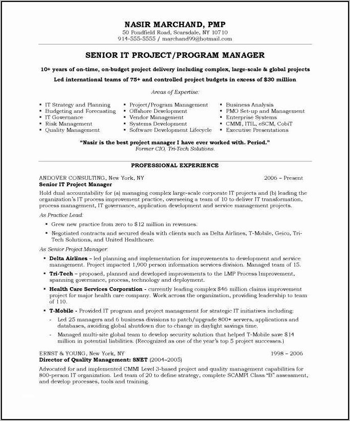 Best Resume Sample For Project Manager