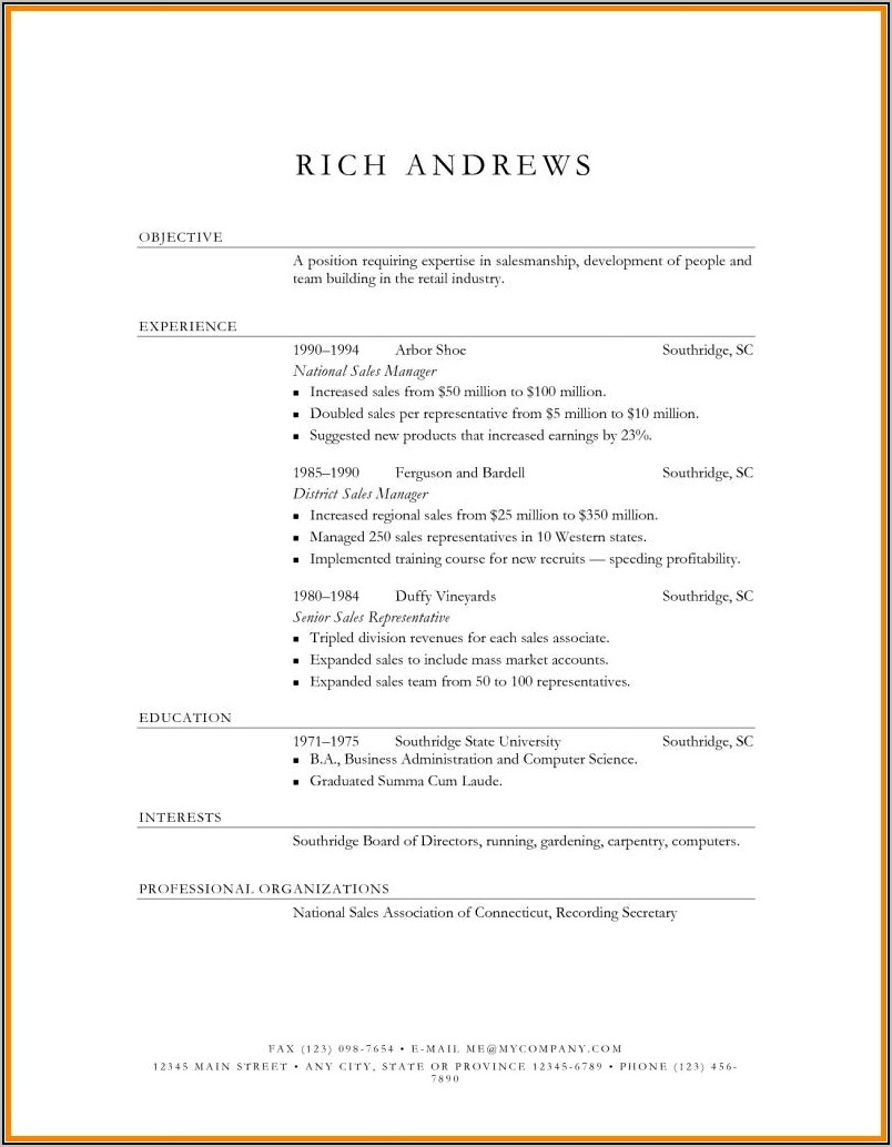 Best Resumes For Sales Manager