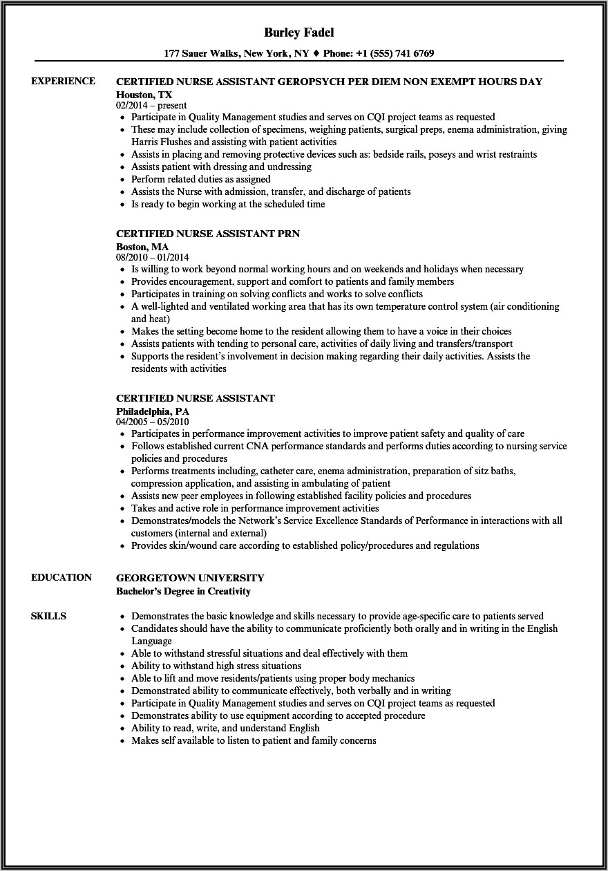 Certified Nursing Assistant Resume With No Experience