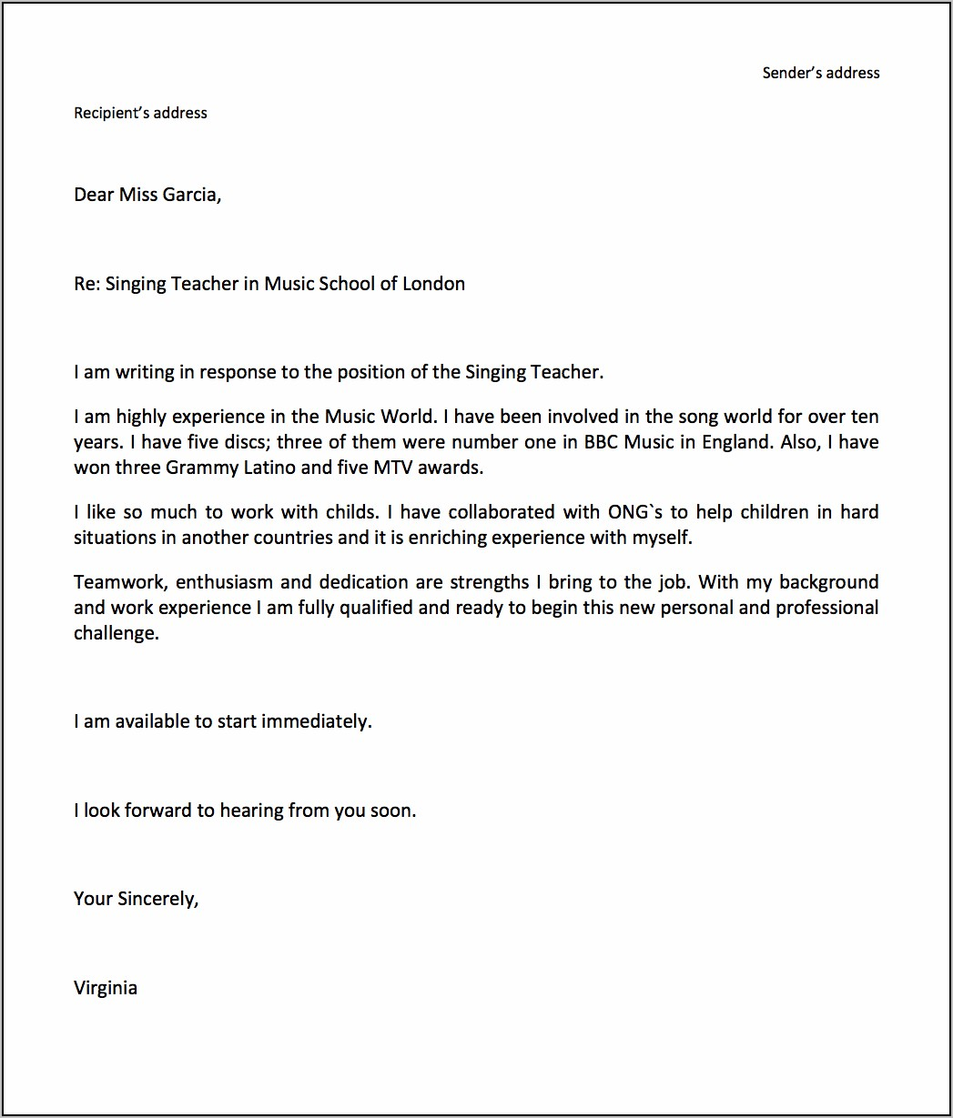 Cover Letter Sample For Resume Email