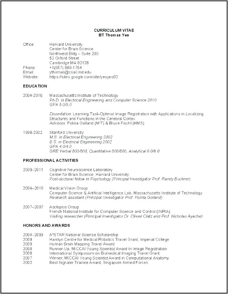 Curriculum Vitae Format Doc For Freshers