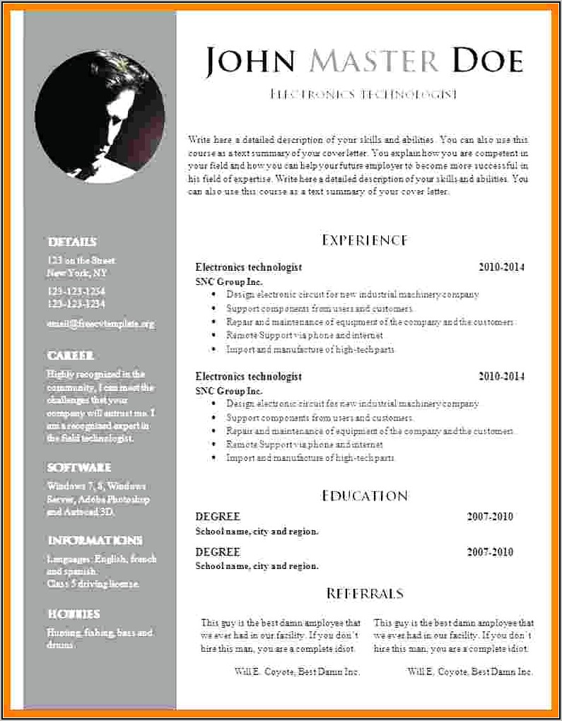 Cv Template Word Download Free