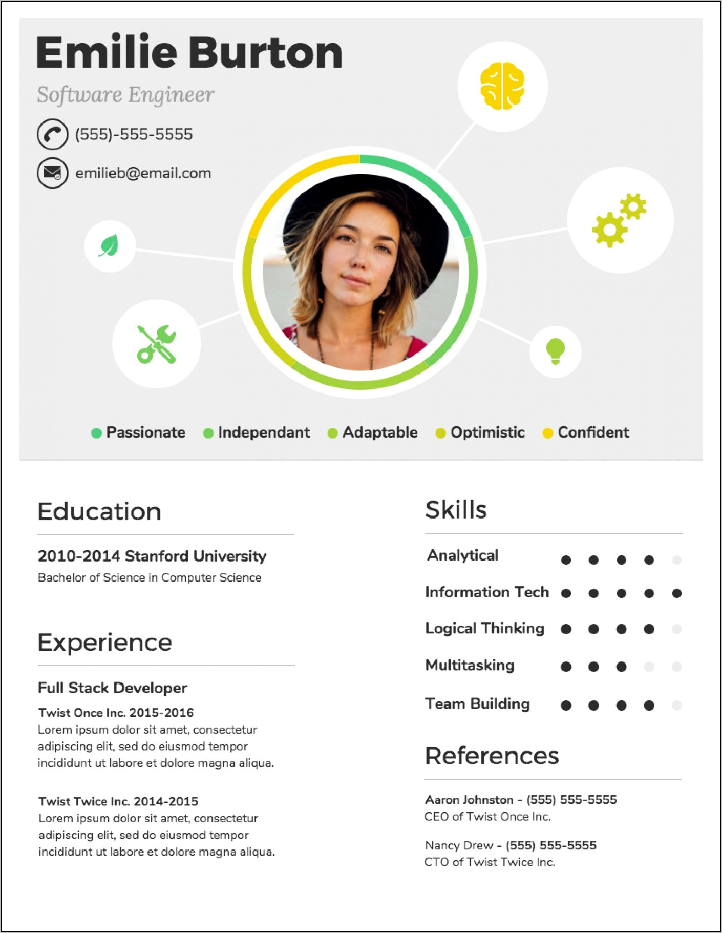 Editable Infographic Resume Template Free Download