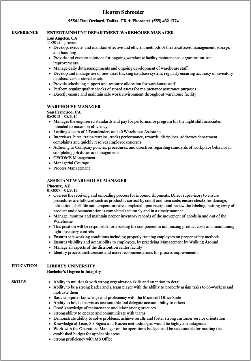 Example Of A Good Warehouse Manager Resume