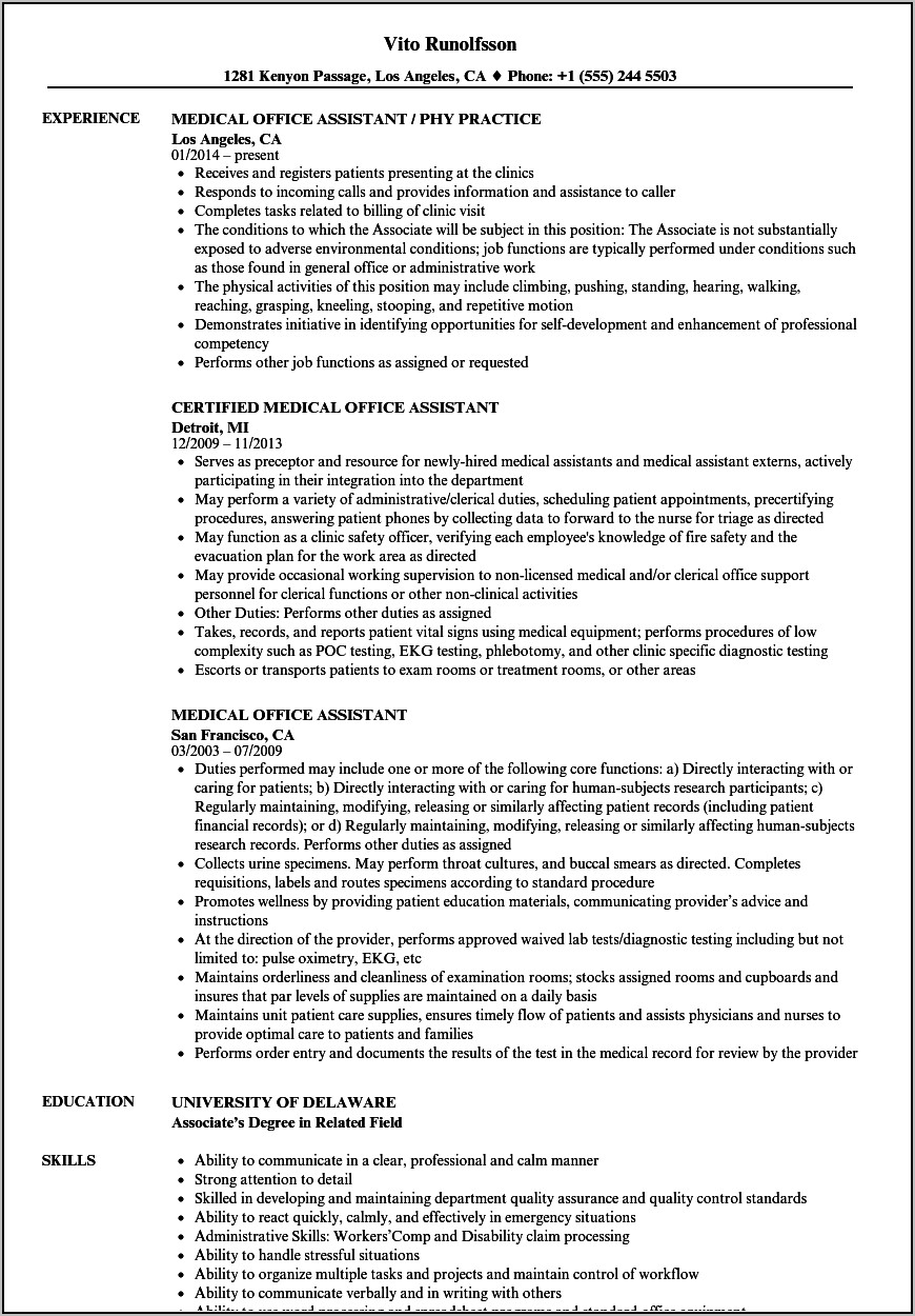 Example Of Medical Office Assistant Resume