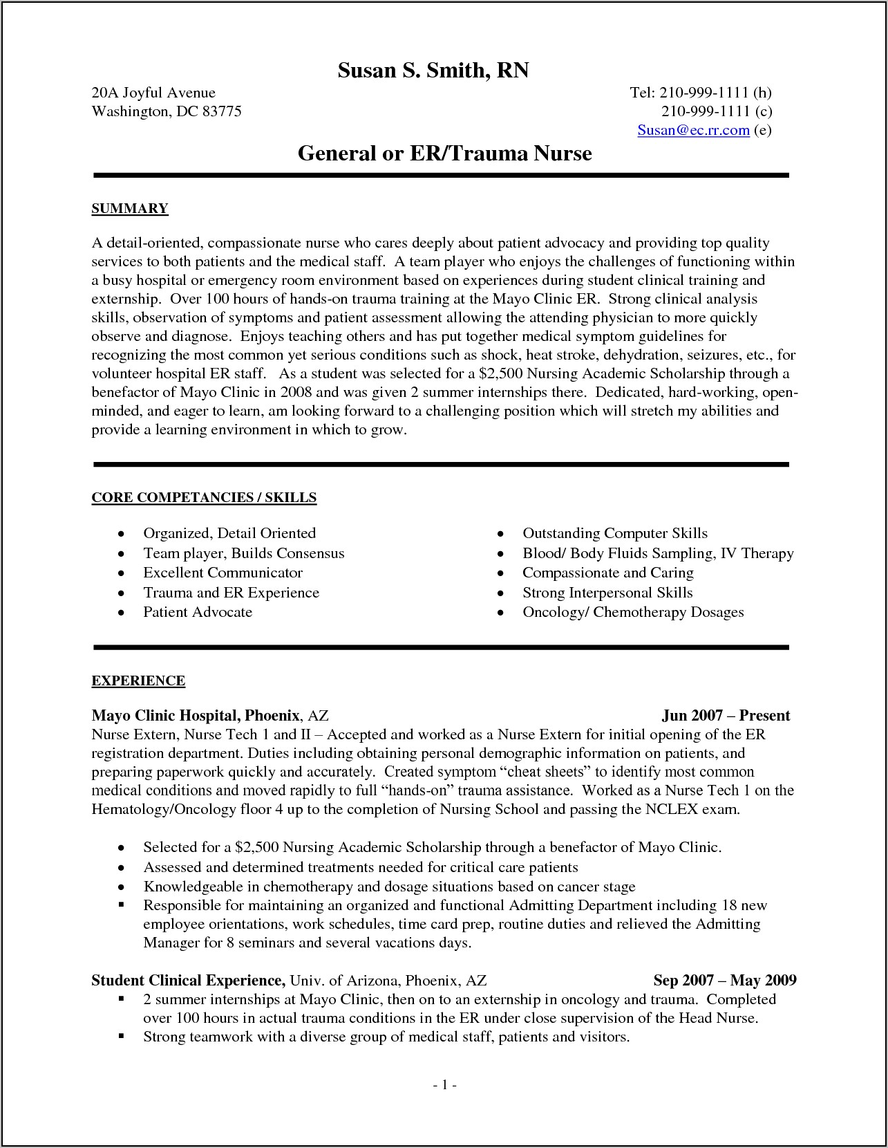 Example Of Nurse Practitioner Student Resume
