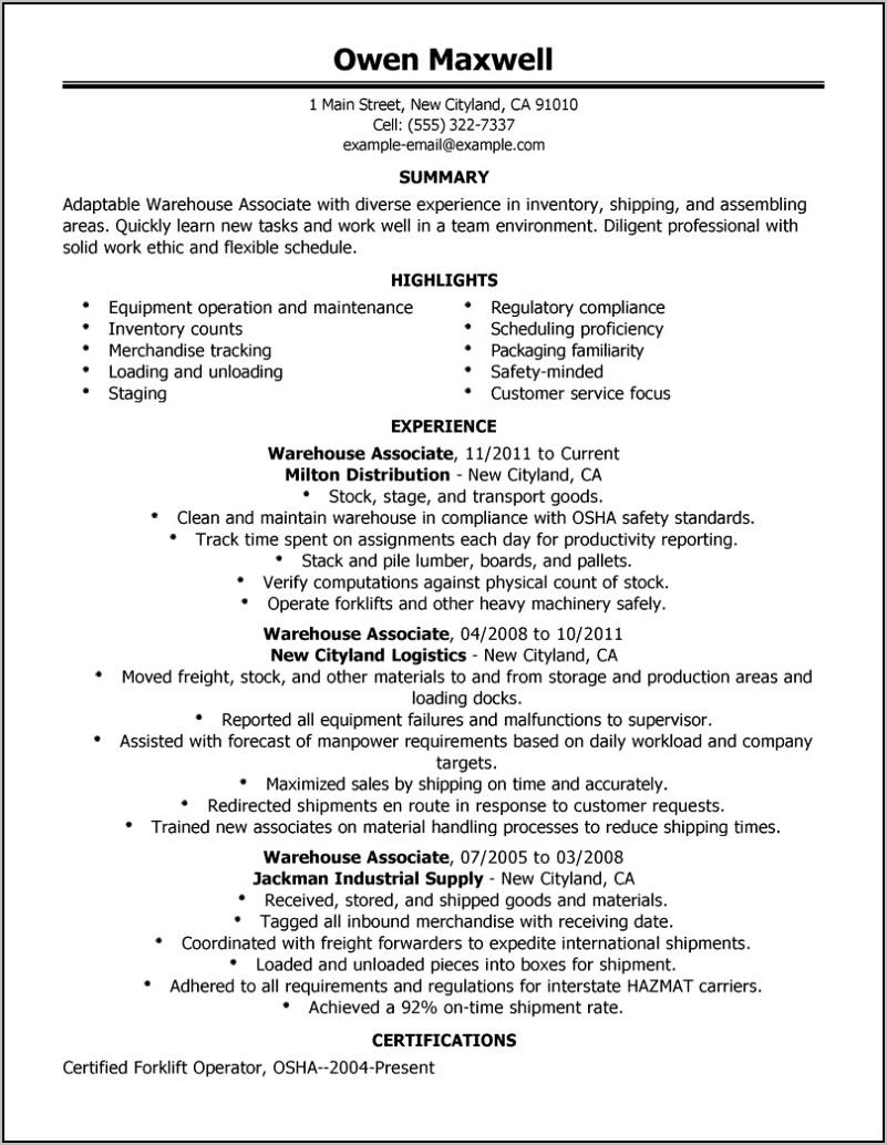 Example Of Warehouse Resume Objective
