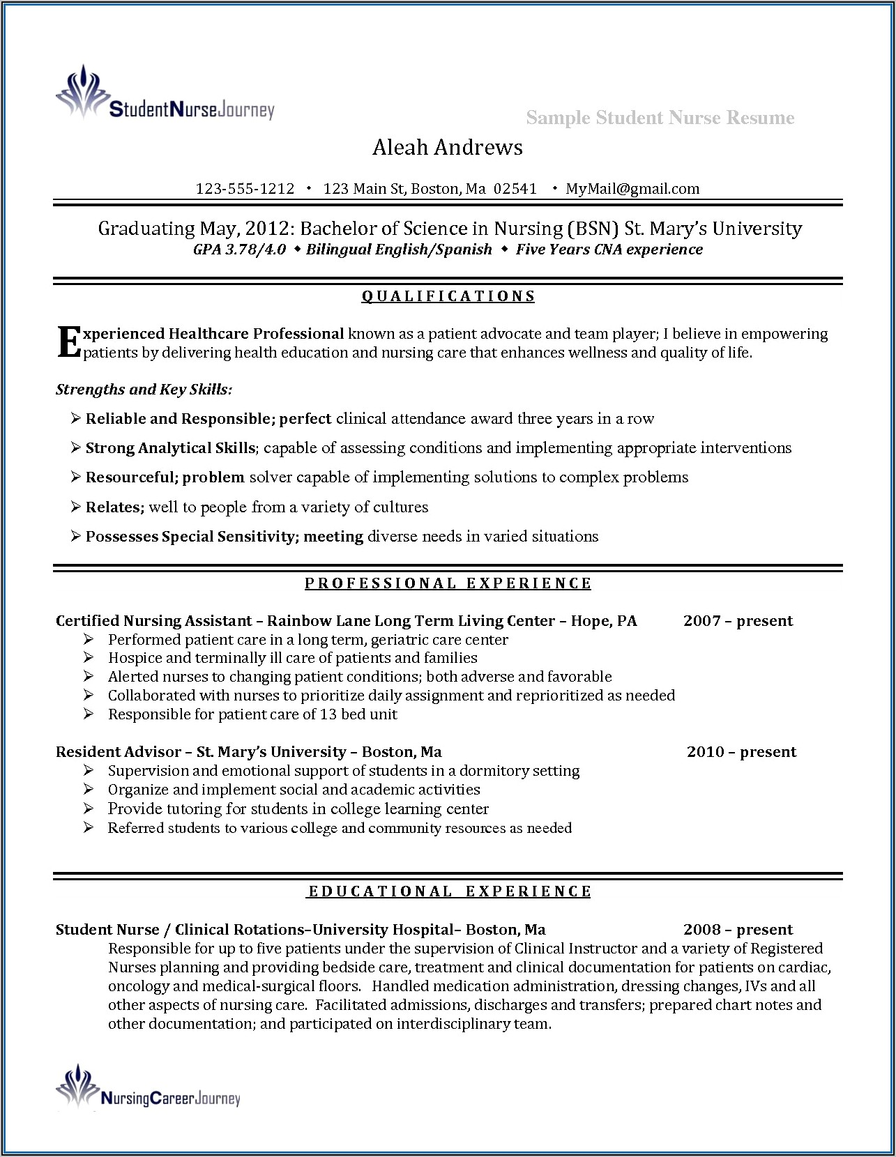 Examples Of Clinical Nurse Practitioner Resume