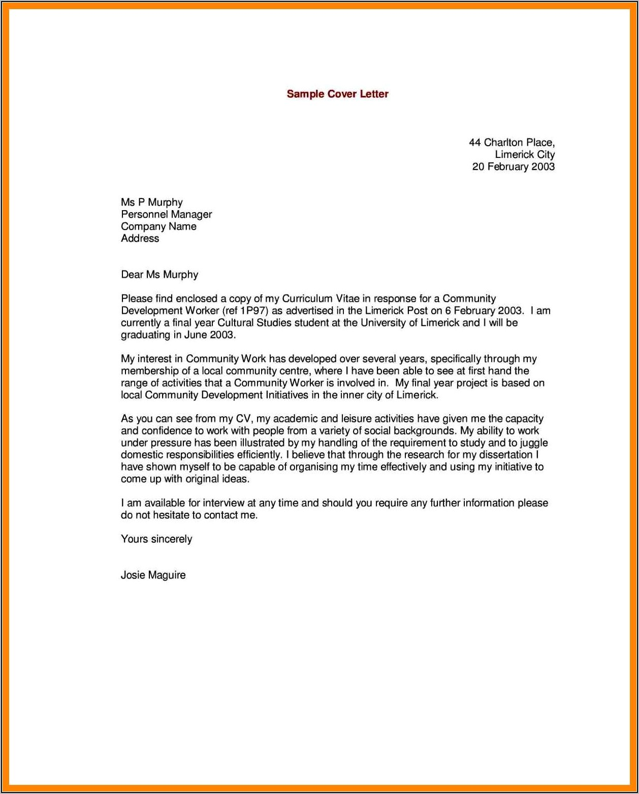Examples Of Good Cover Letters For Resumes