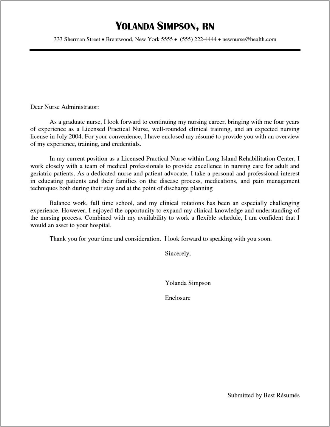 Examples Of Nursing Job Cover Letters