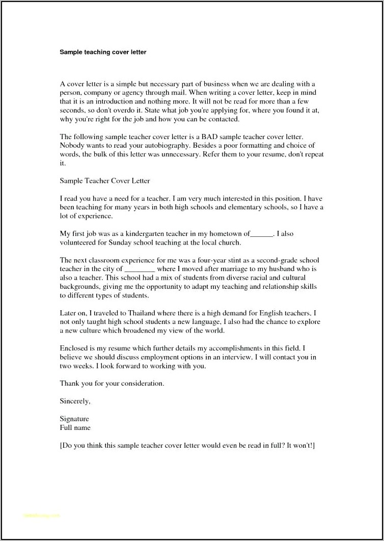 Examples Of Teacher Cover Letters For Resumes