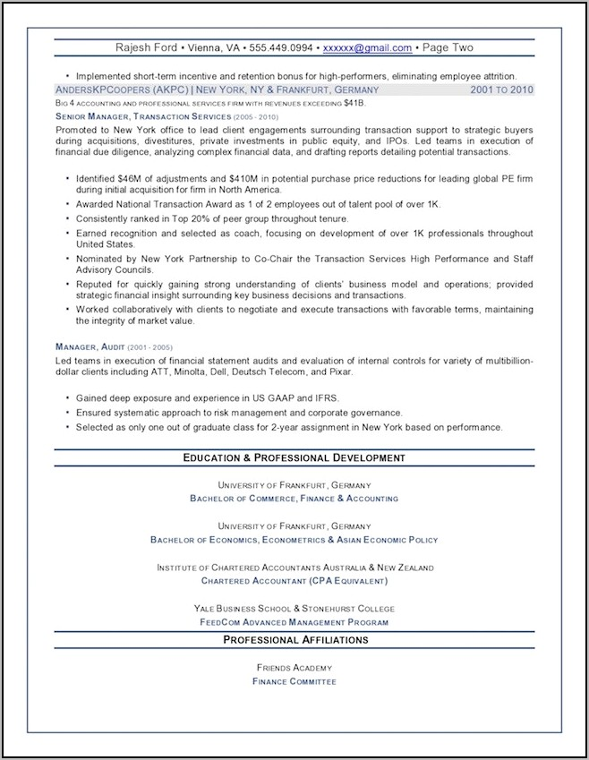 Examples Of Top Executive Resumes