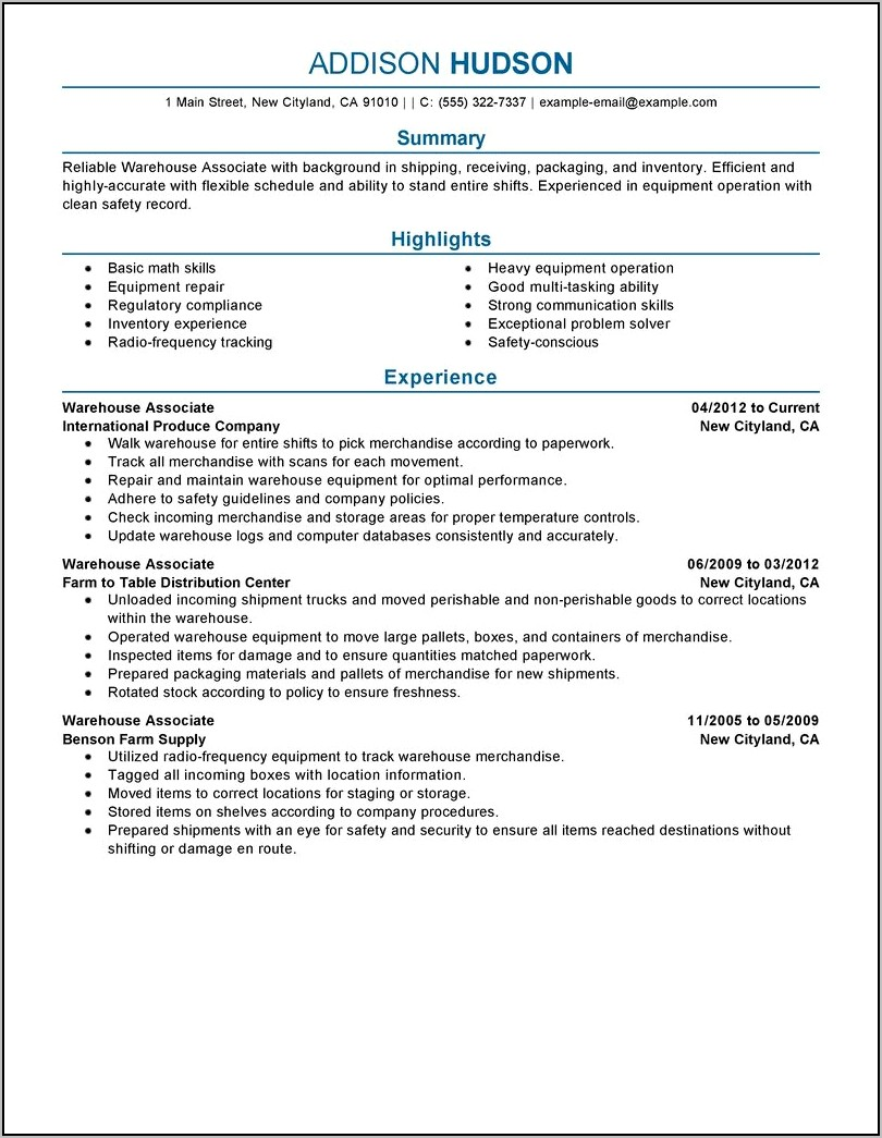 Examples Of Warehouse Manager Resume