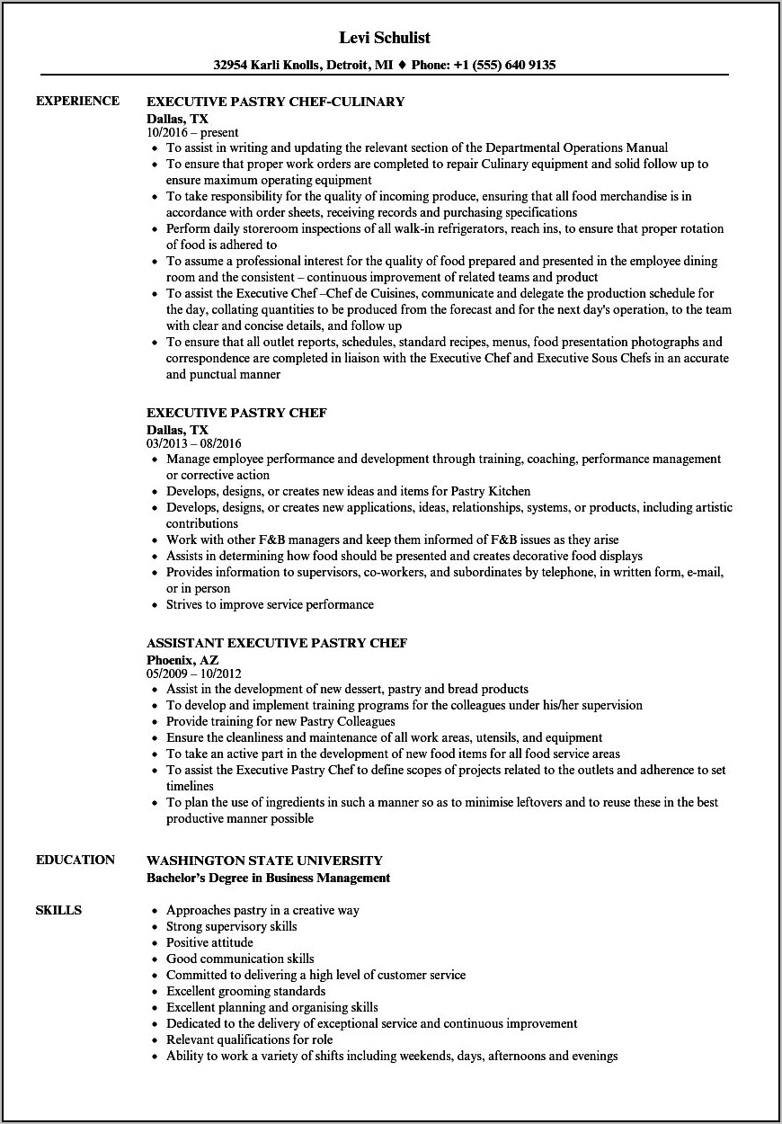Executive Pastry Chef Resume Sample