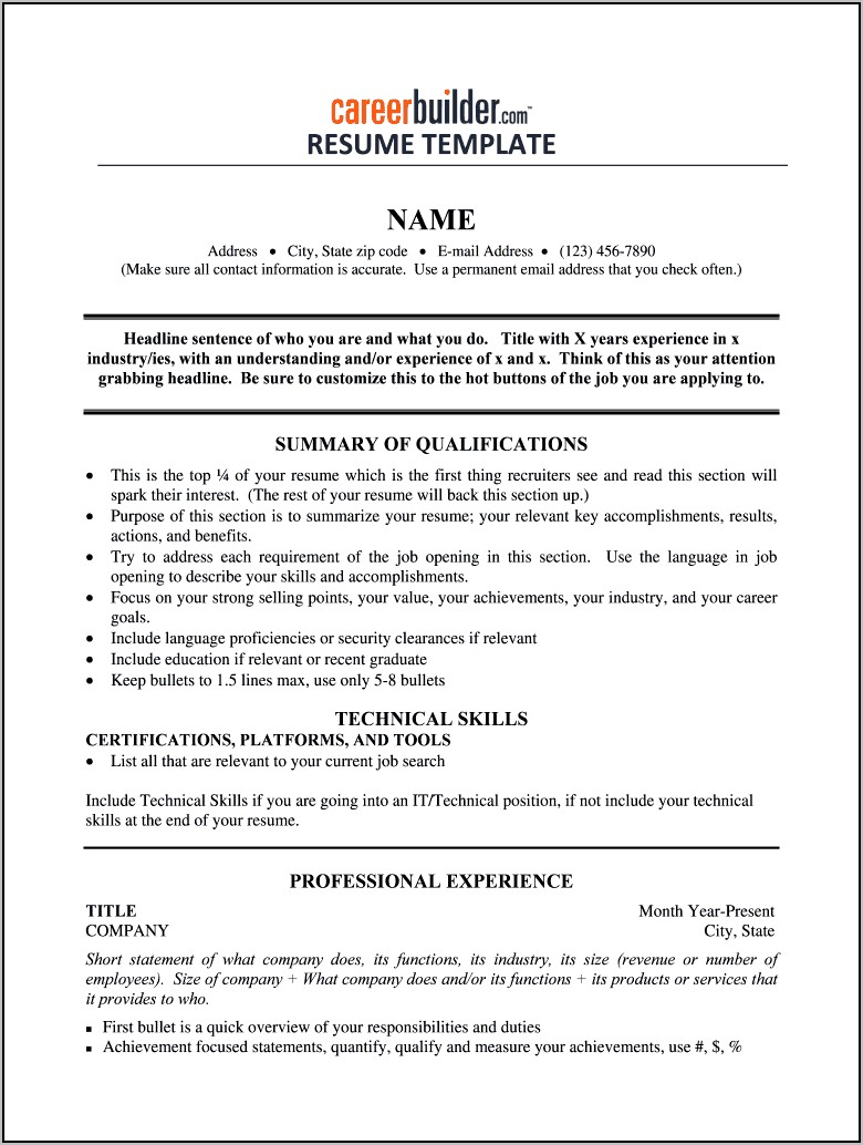 Fill In Blank Resume Form