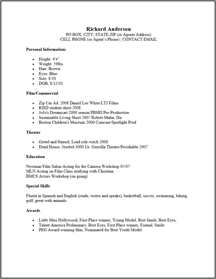 Free Actor Resume Template Word