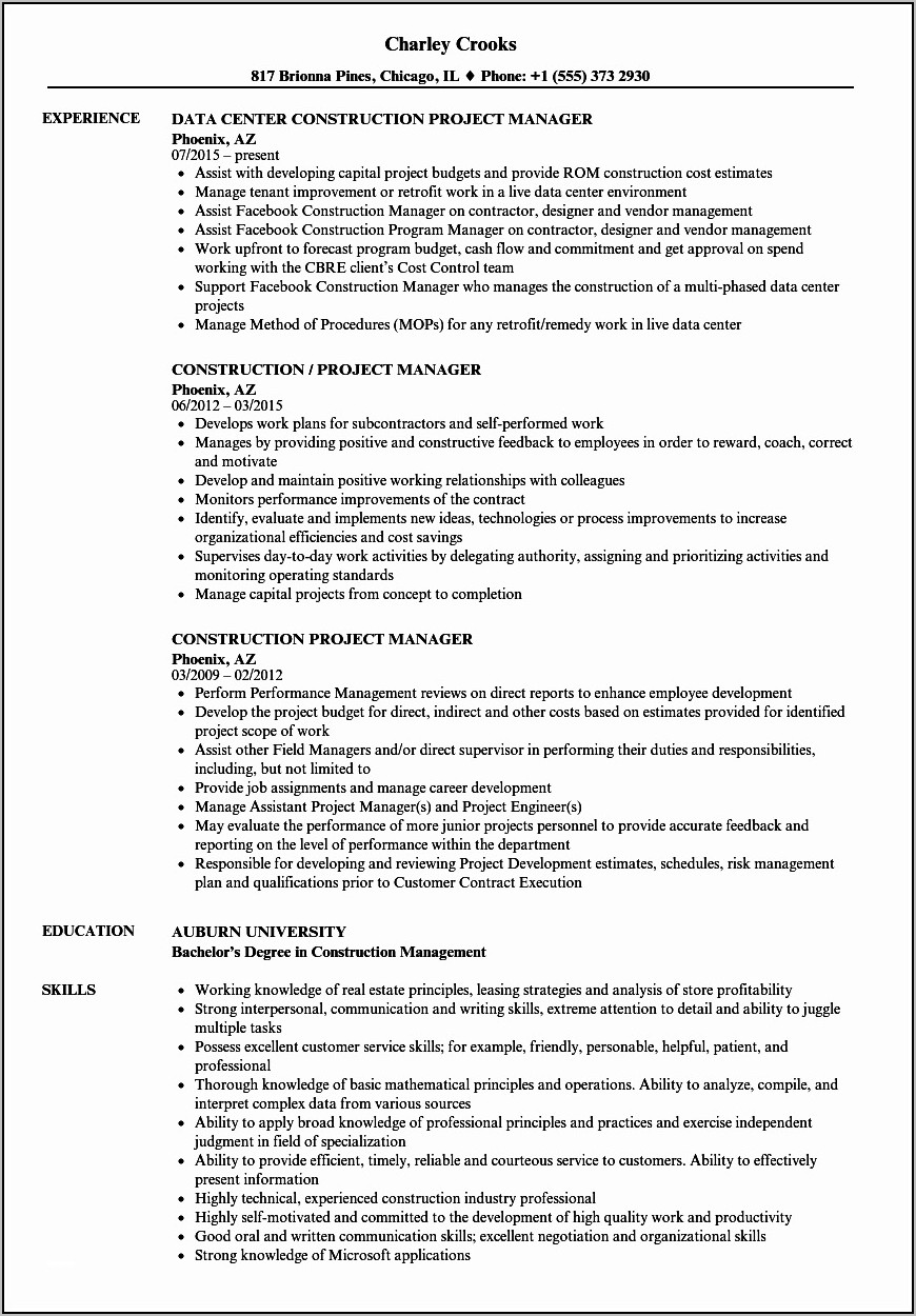 Free Construction Resume Samples