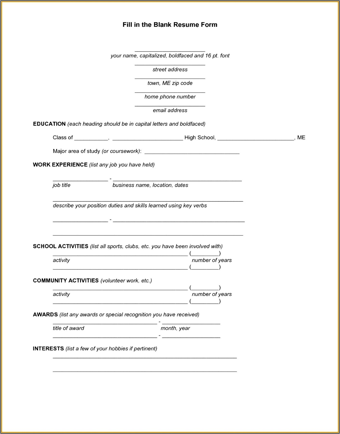 Free Download Blank Resume Form