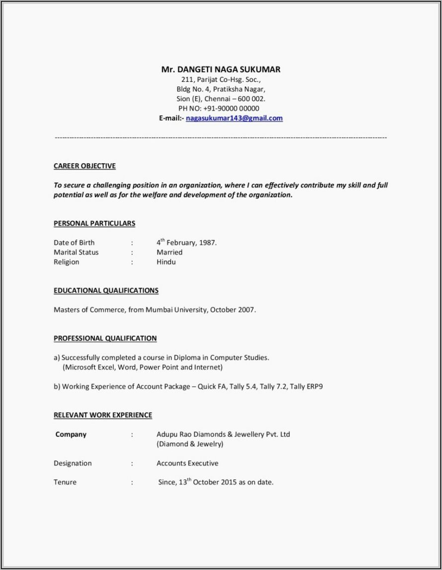Free Download Resume Format For Fresher Teachers