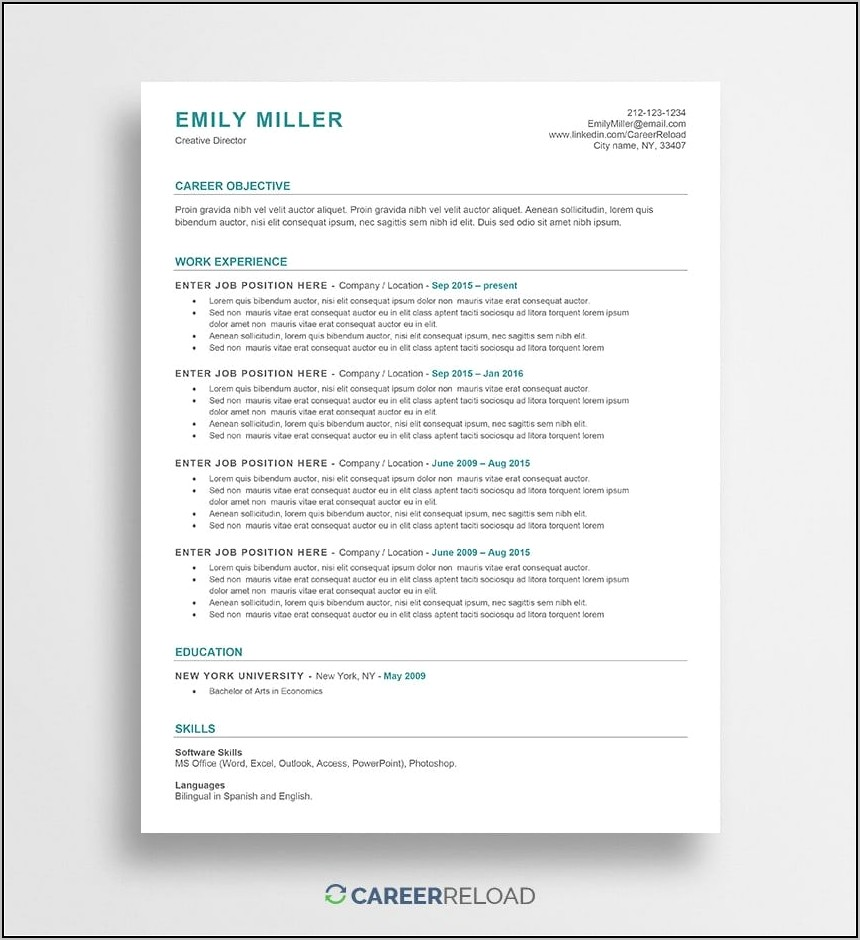 Free Modern Resume Templates For Word Doc