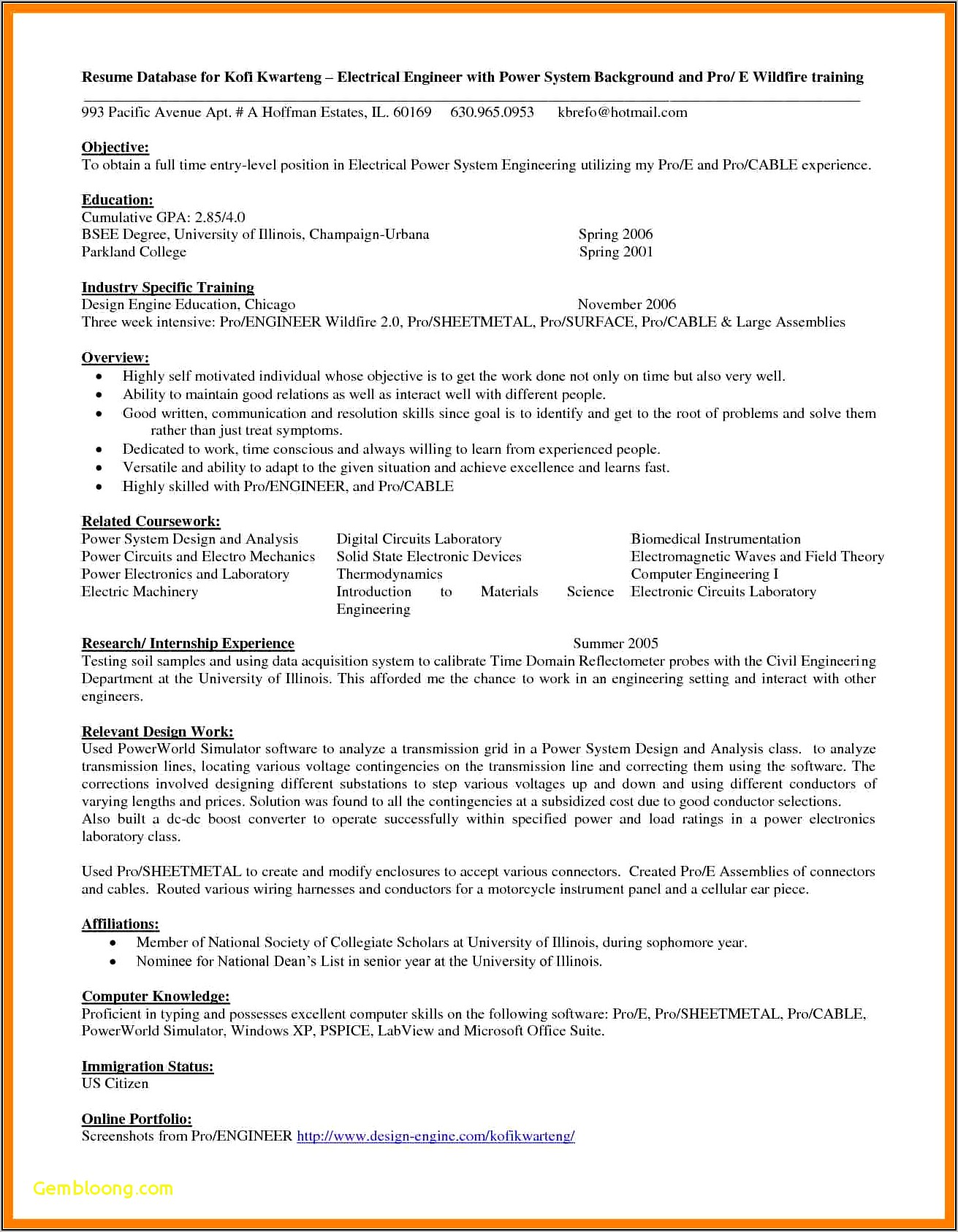 Free Resume Builder For Freshers Engineers