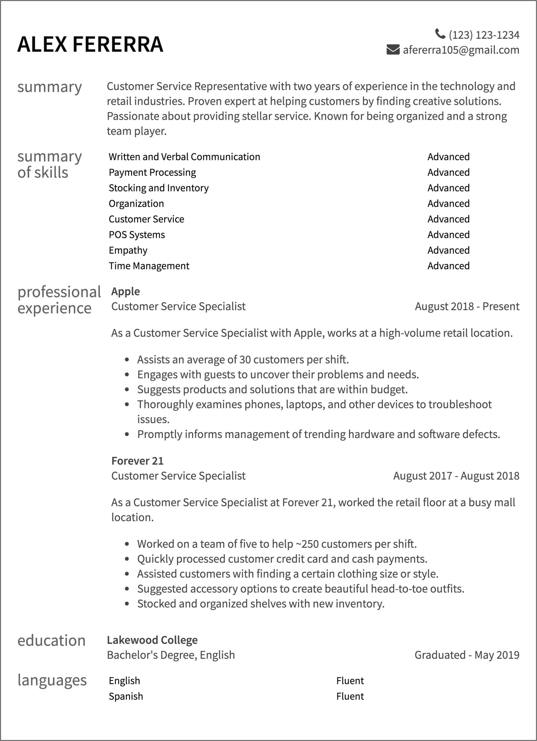 Free Resume Examples For Customer Service