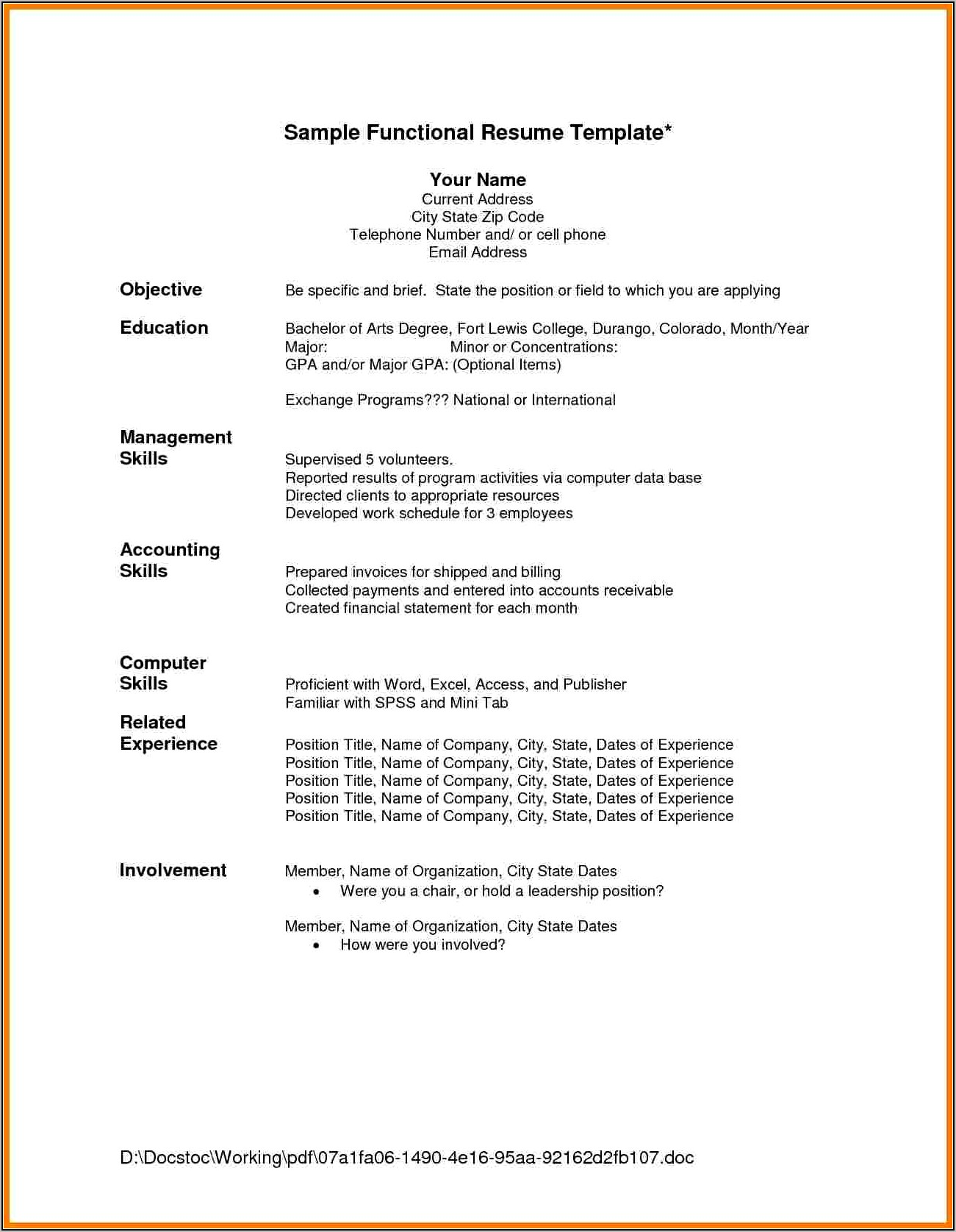 Free Resume Template Download For Wordpad