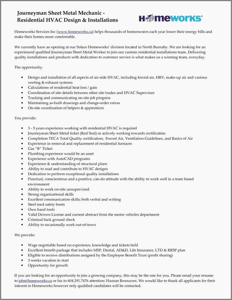 Free Resume Templates For Hvac Technician