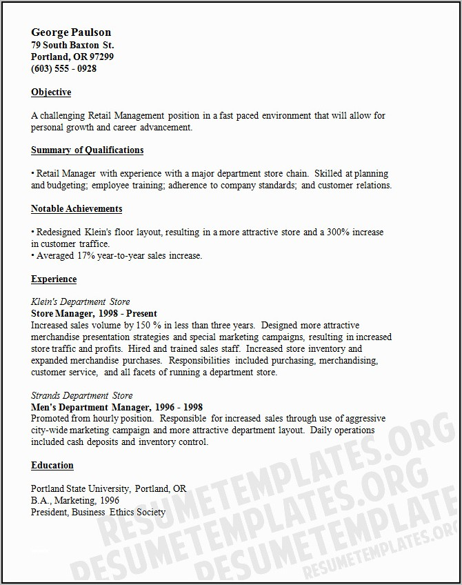 Free Resume Templates For Retail Sales