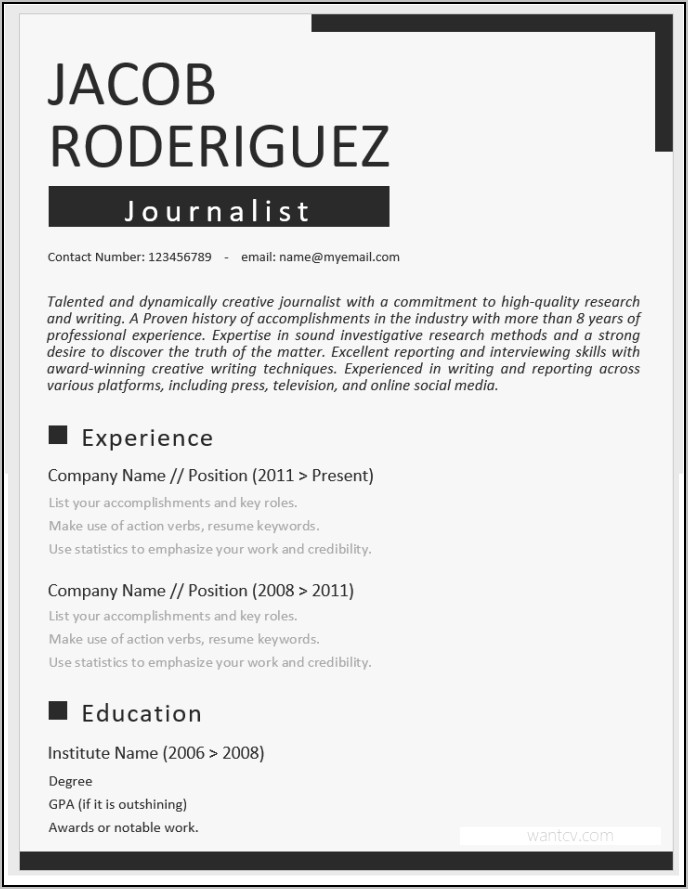 Free Resume Templates Word Download