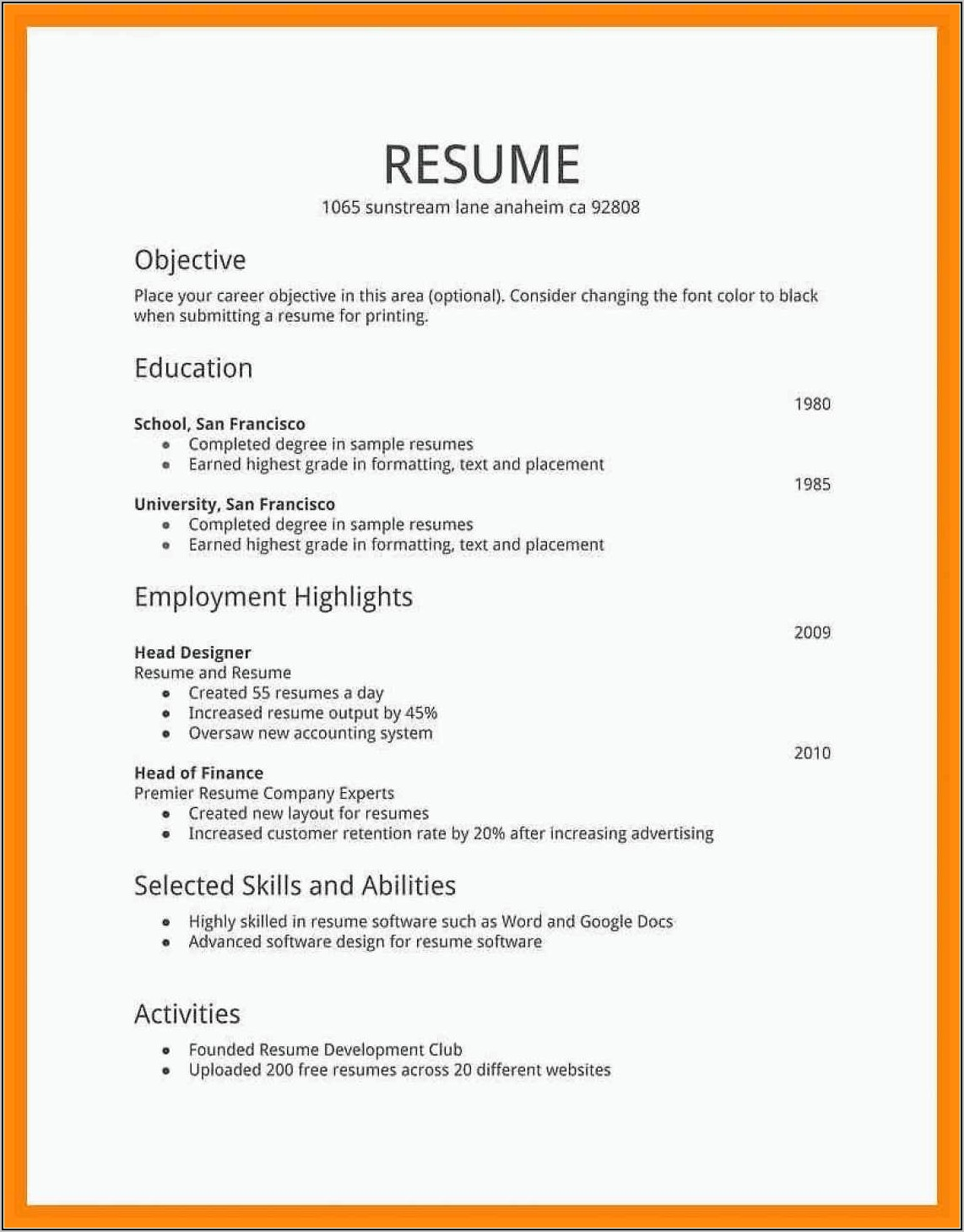 Free Templates For Professional Resumes
