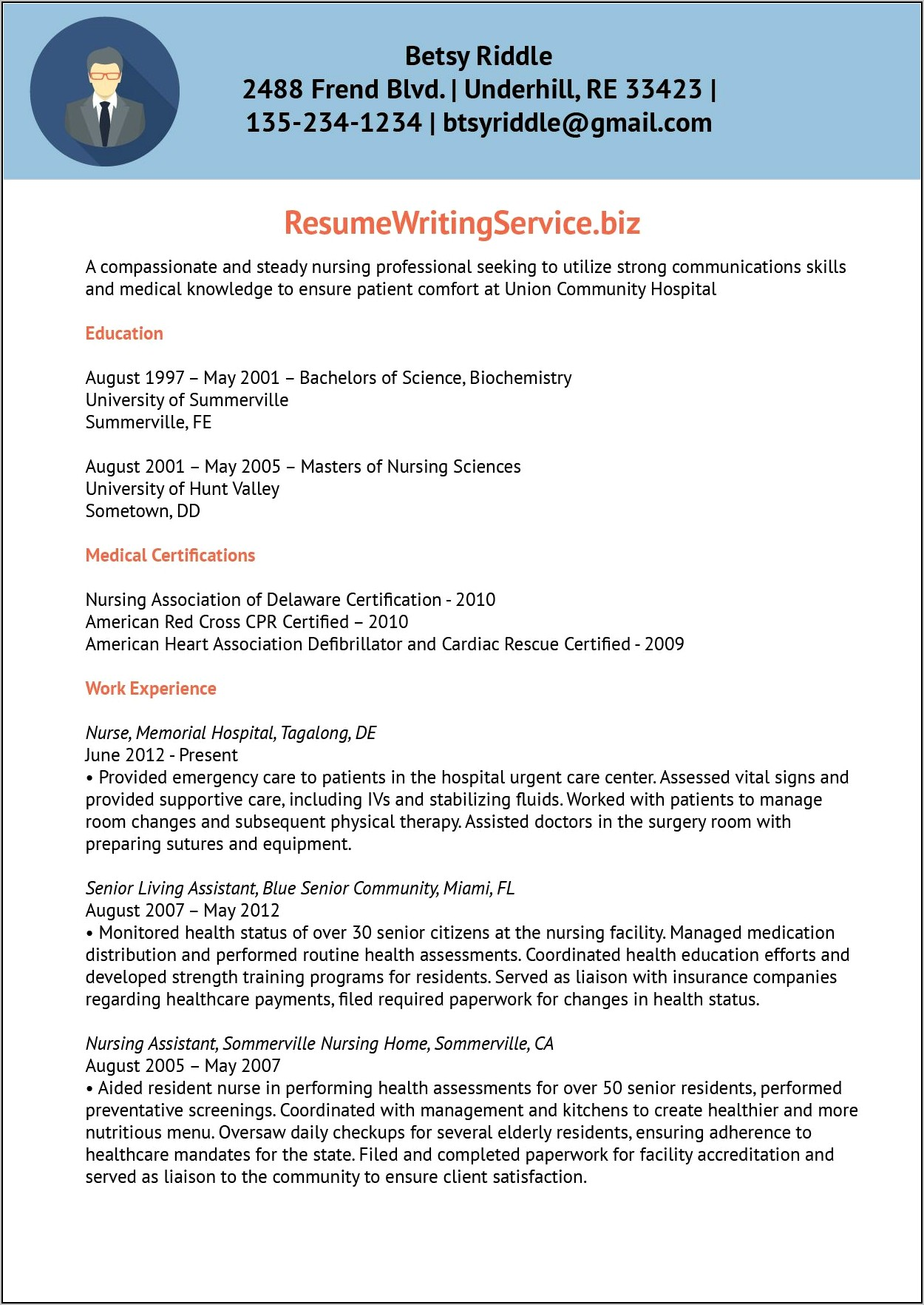 Nursing Professional Resume Writing