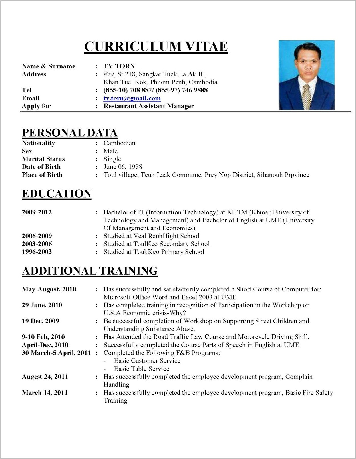 Professional Resume Writing Examples