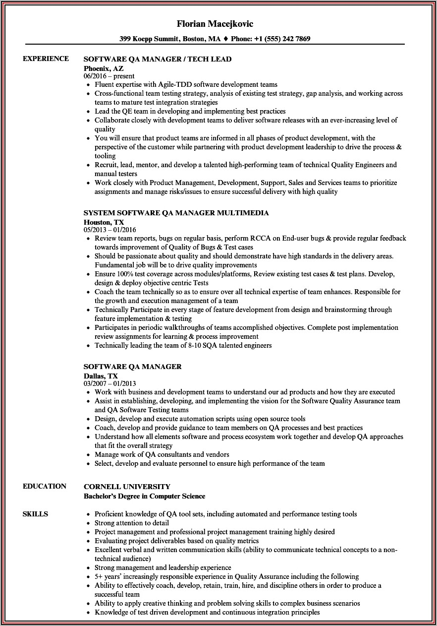 Quality Assurance Manager Resume Objective