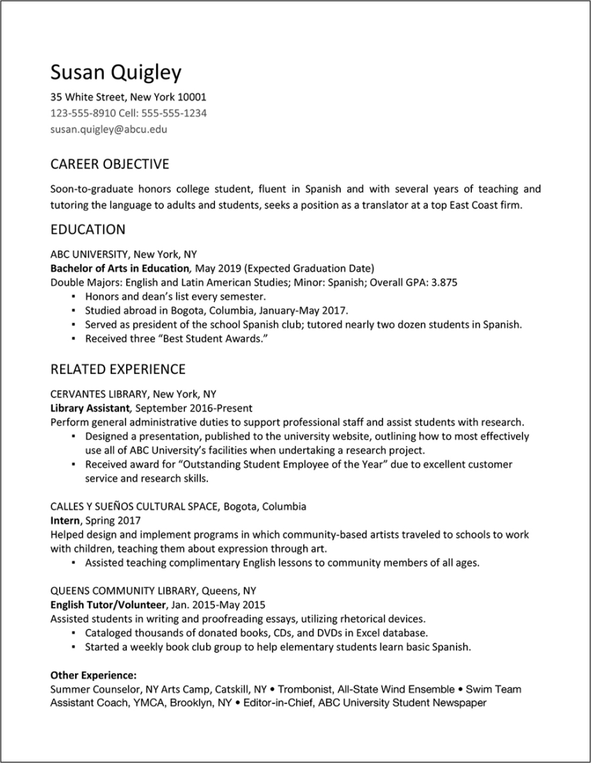 Resume College Graduate Sample