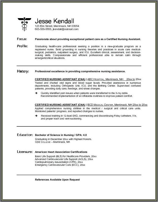 Resume Example For Nanny Position