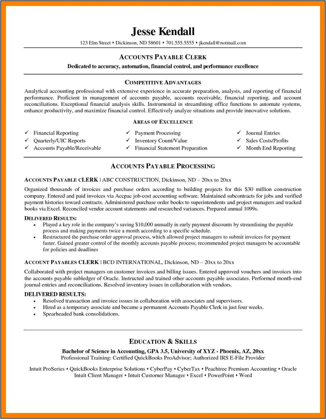 Resume Examples For Accounts Receivable Manager