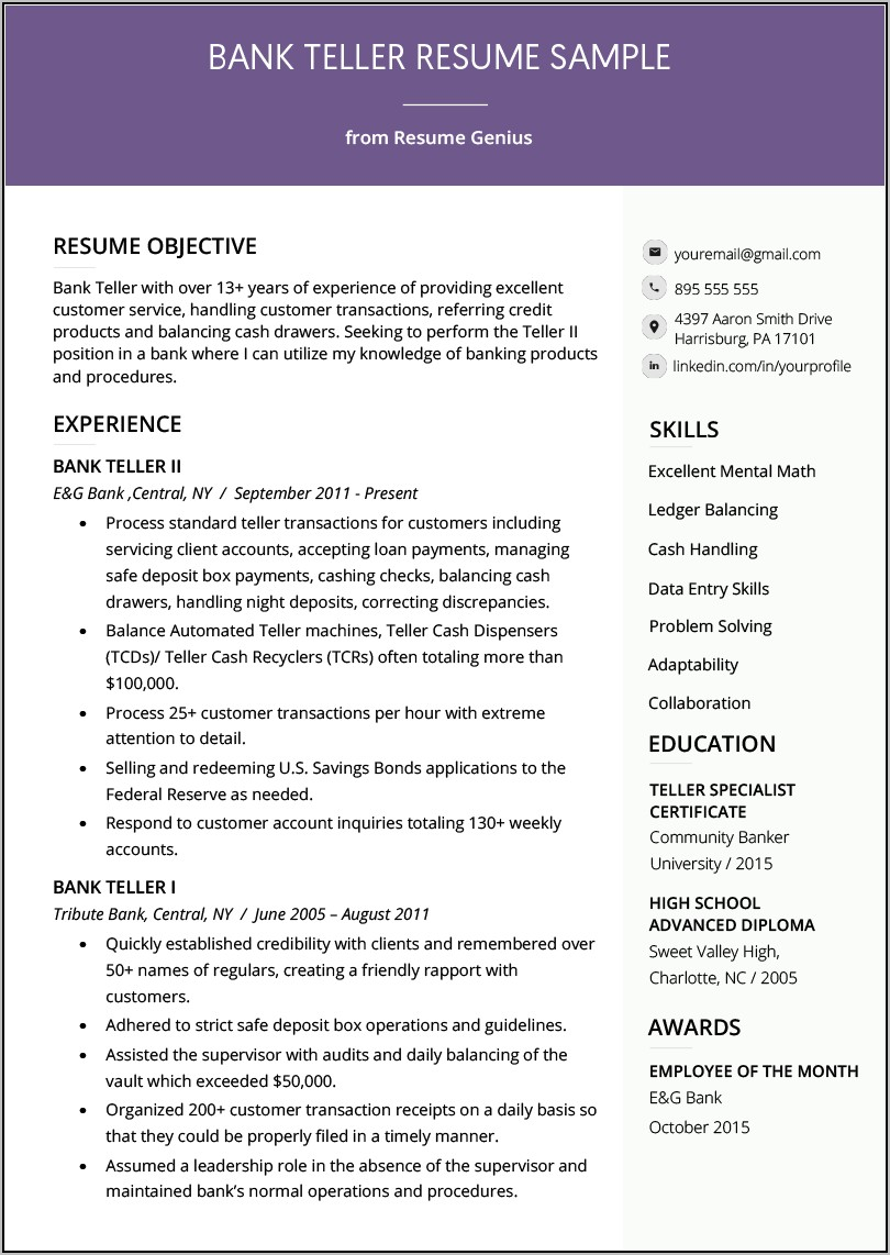 Resume Examples For Bank Teller Position
