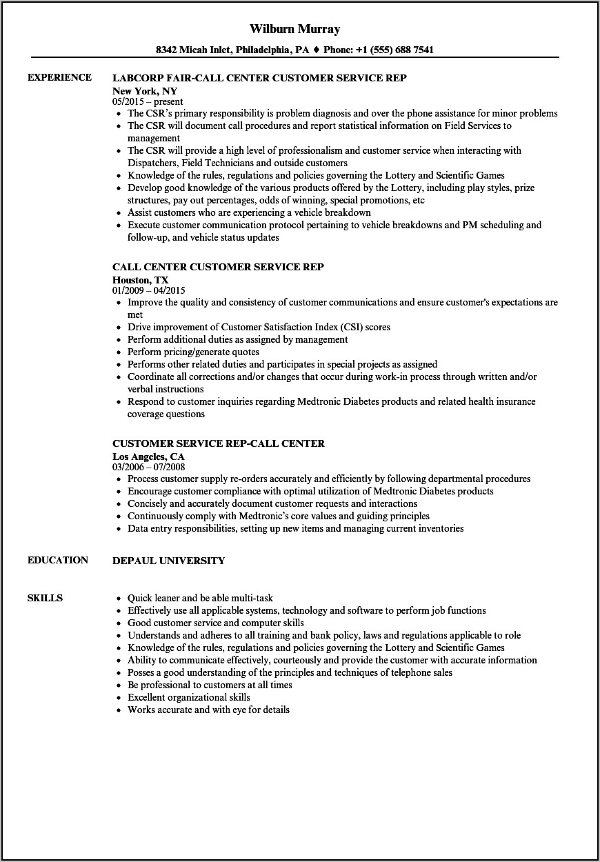 Resume Examples For Jobs In Customer Service