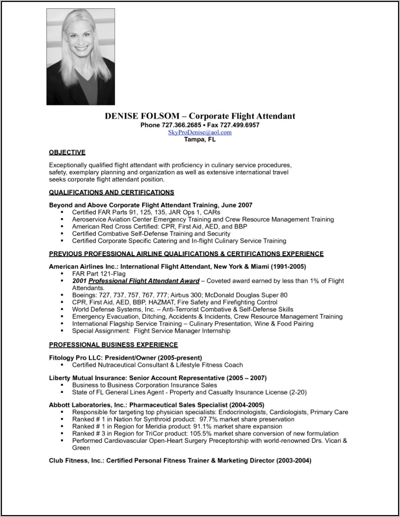 Resume For Flight Attendant Job