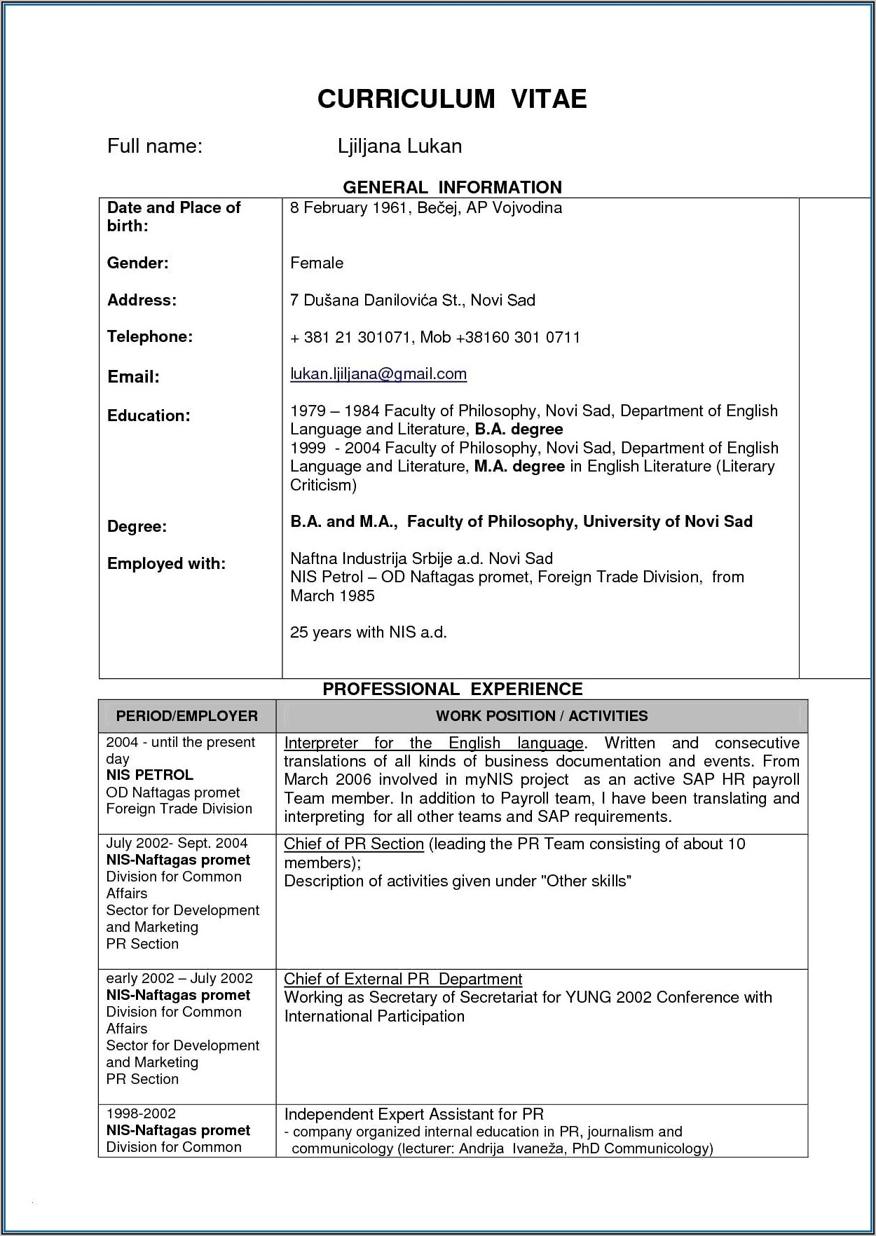 Resume For Fresher Mechanical Engineer Sample