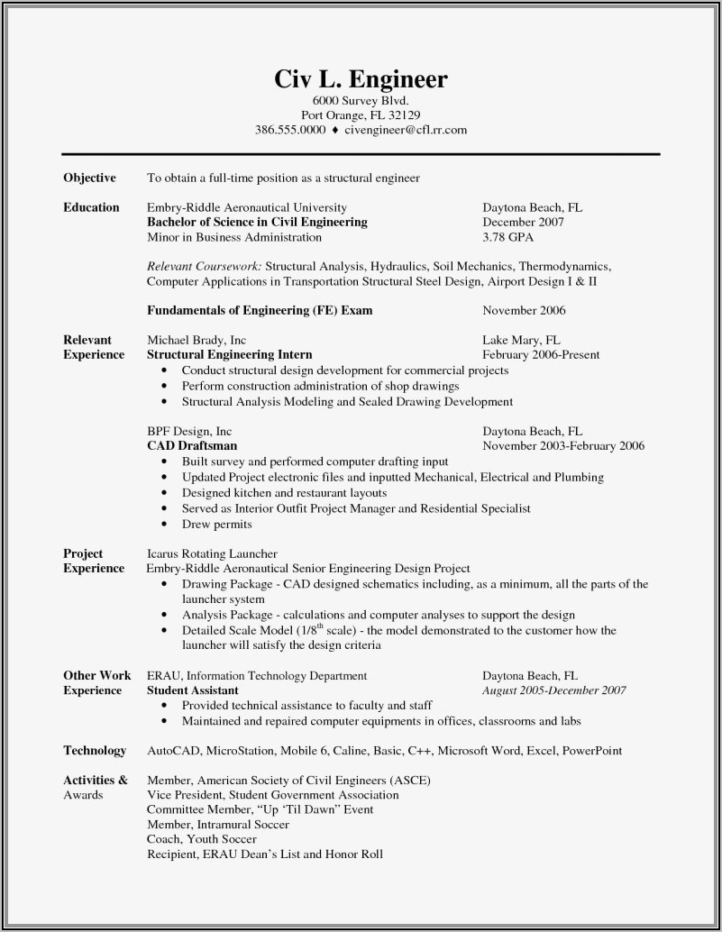 Resume For Freshers Computer Engineers Doc
