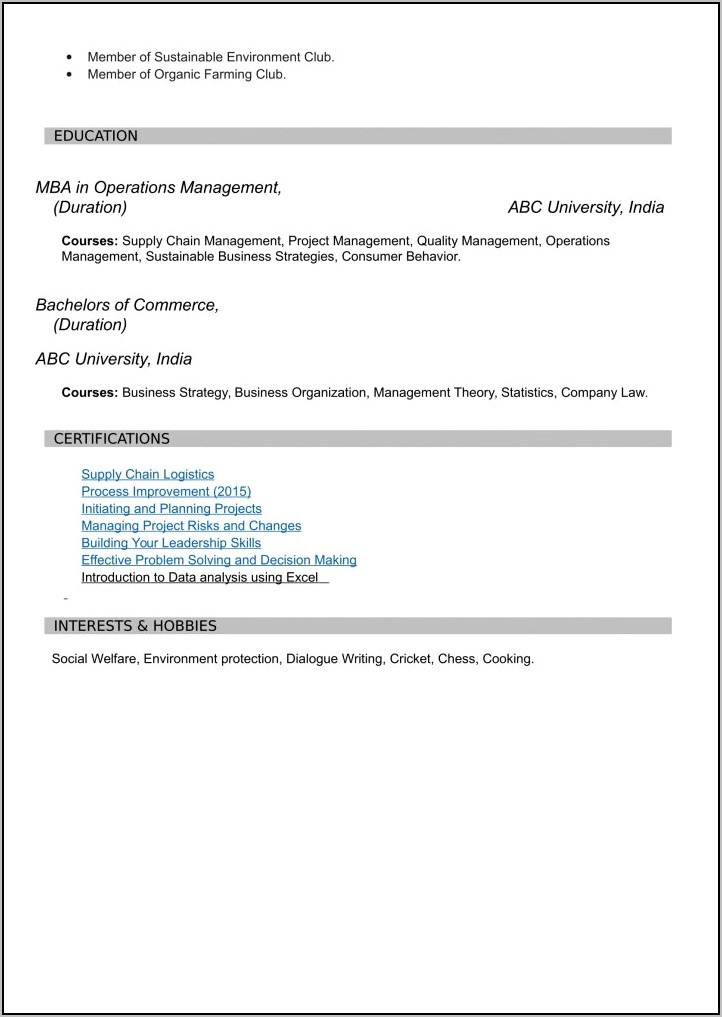 Resume For Freshers Ece Engineers Free Download