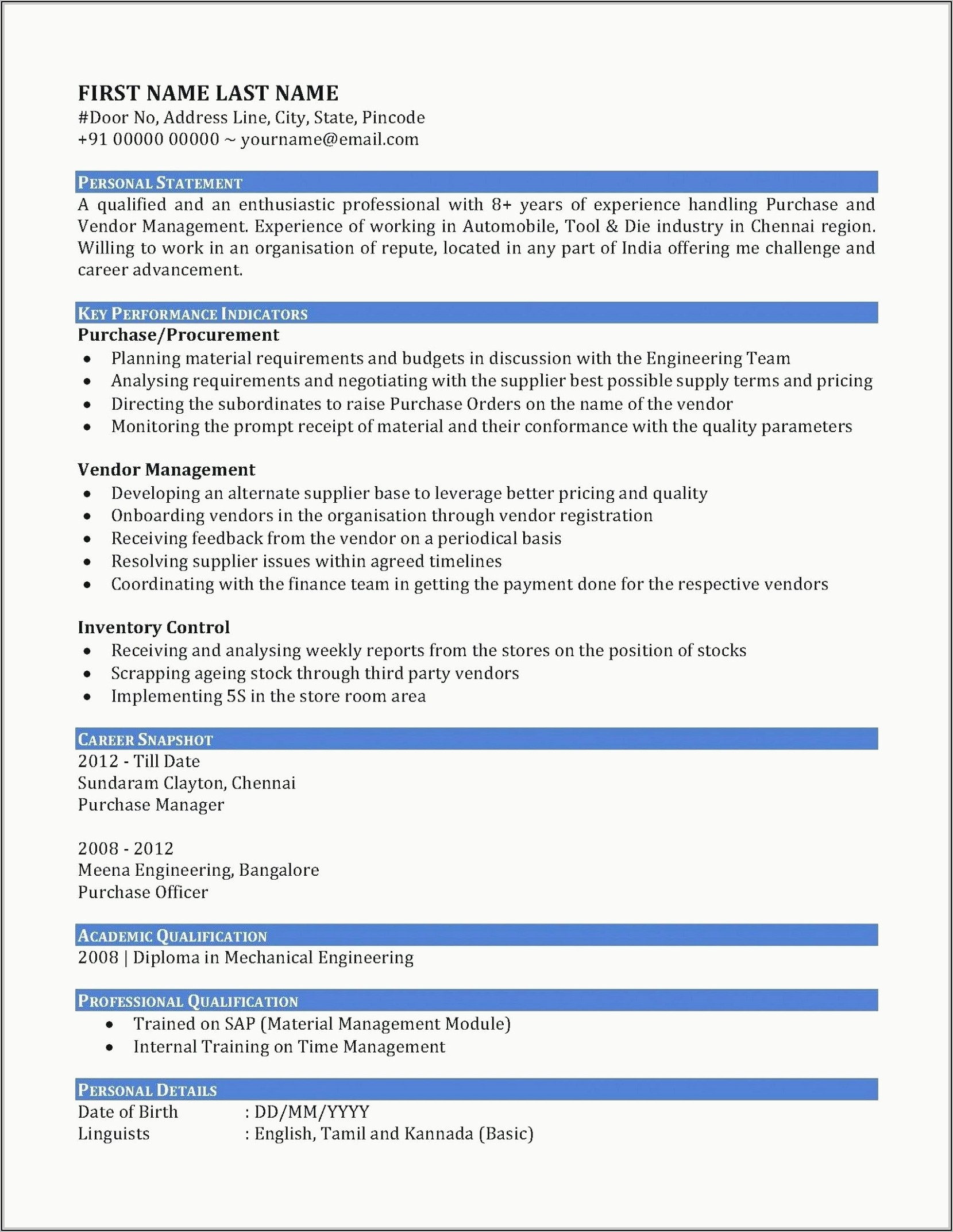 Resume For Sales Executive In Automobile