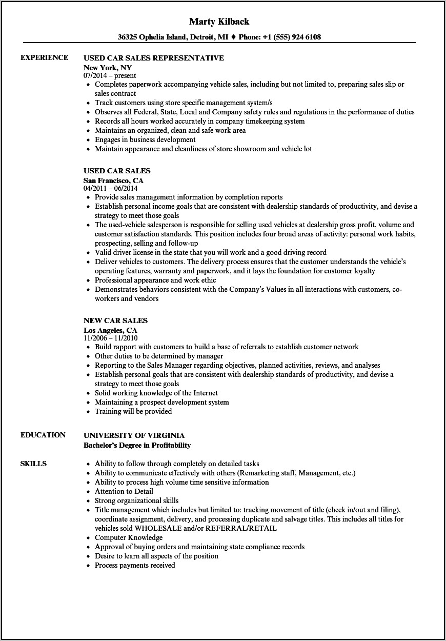 Resume For Sales Manager In Automobile