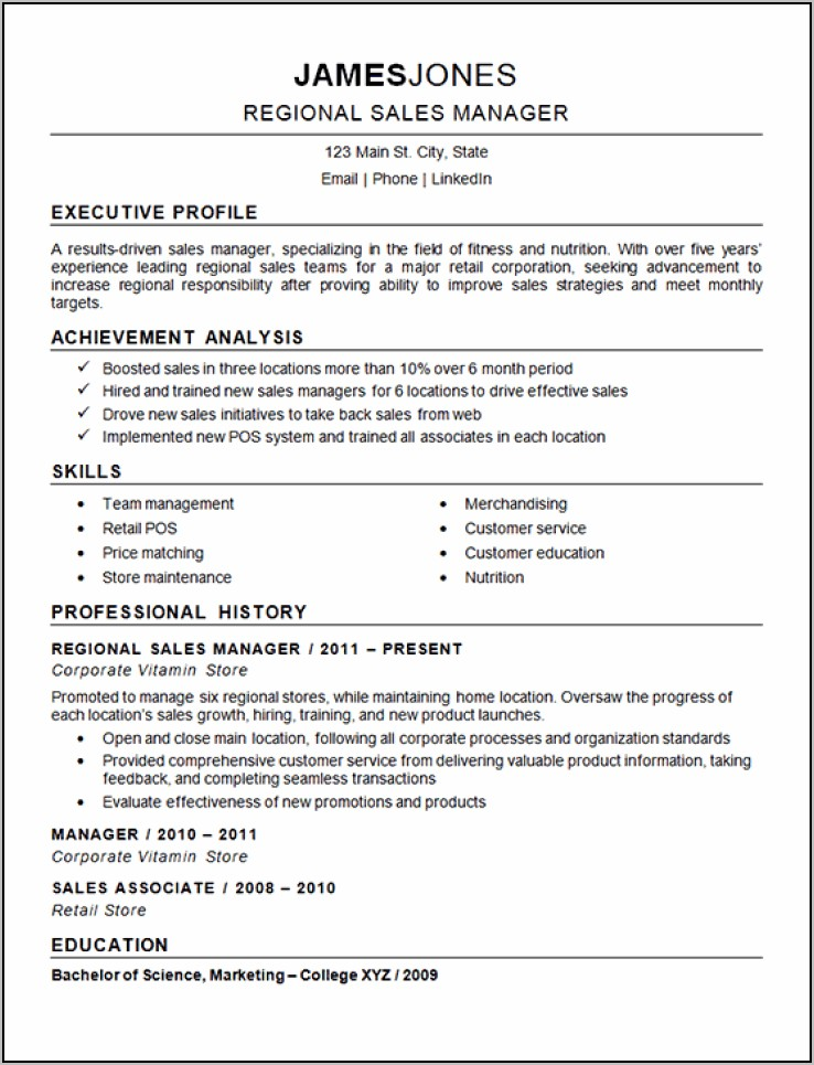Resume For Sales Manager In Real Estate