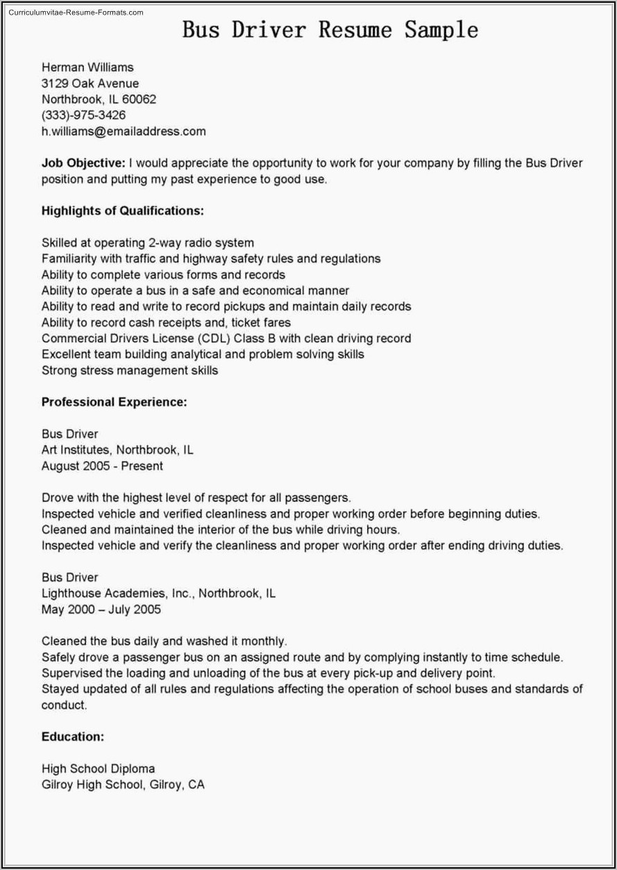 Resume For Semi Truck Driver Position
