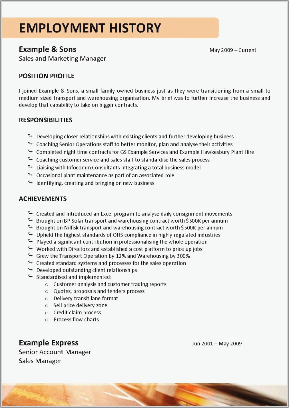 Resume For Tow Truck Driver
